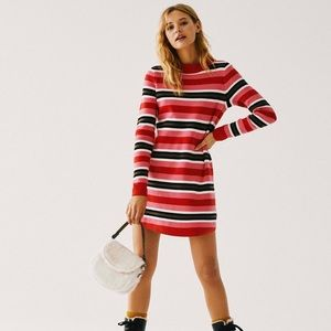 Free People Striped Sweater Dress Tunic Pink Red S